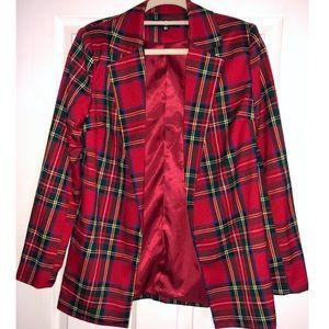 2bc4637c64ed Missguided Jackets & Coats   Red Plaid Oversized Blazer Sz 4   Poshmark